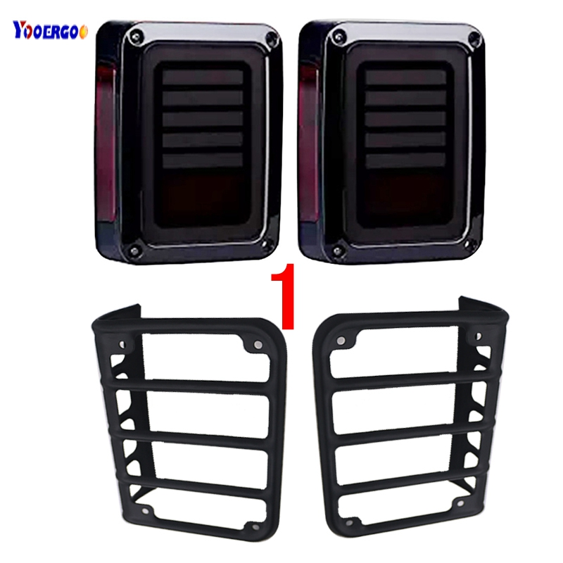 For Jeeps JK LED Rear Tail lights Brake turn signal Reverse Lamp and Chrome taillight Guards Covers for 07-16 Jeep Wrangler JK led integrated taillight for jeep wrangler jk 2007 2016 snake style brake light reverse rear lights eu us version