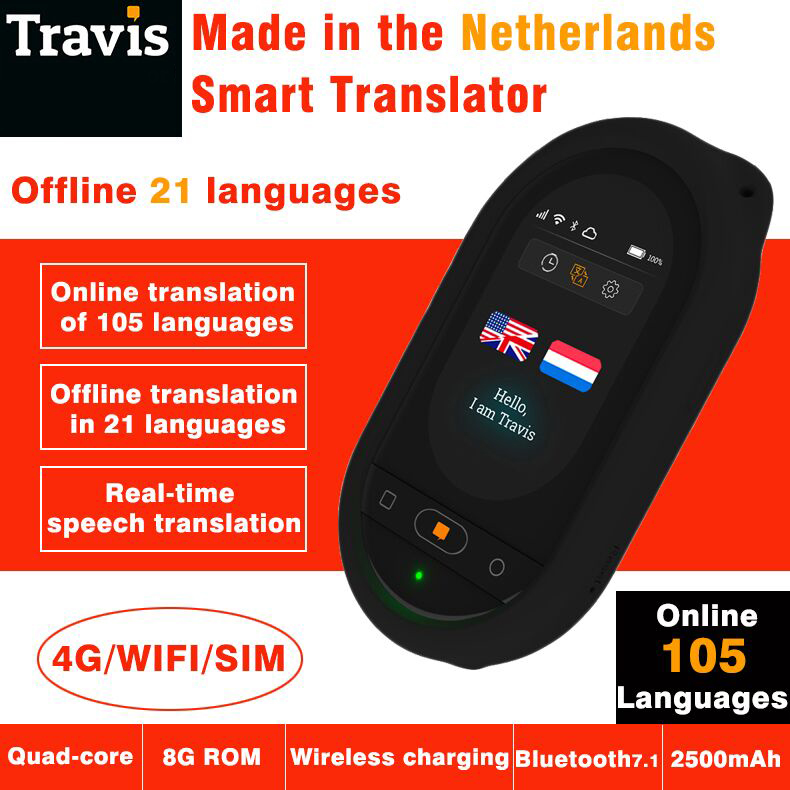 Travis AI Two Way Instant Digital Voice Translator 80 Languages for Learning Travel Shopping Business with case express shipping