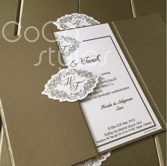 Cocostyles handmade customized paper hard cover wedding invitation card box with outer mailing box