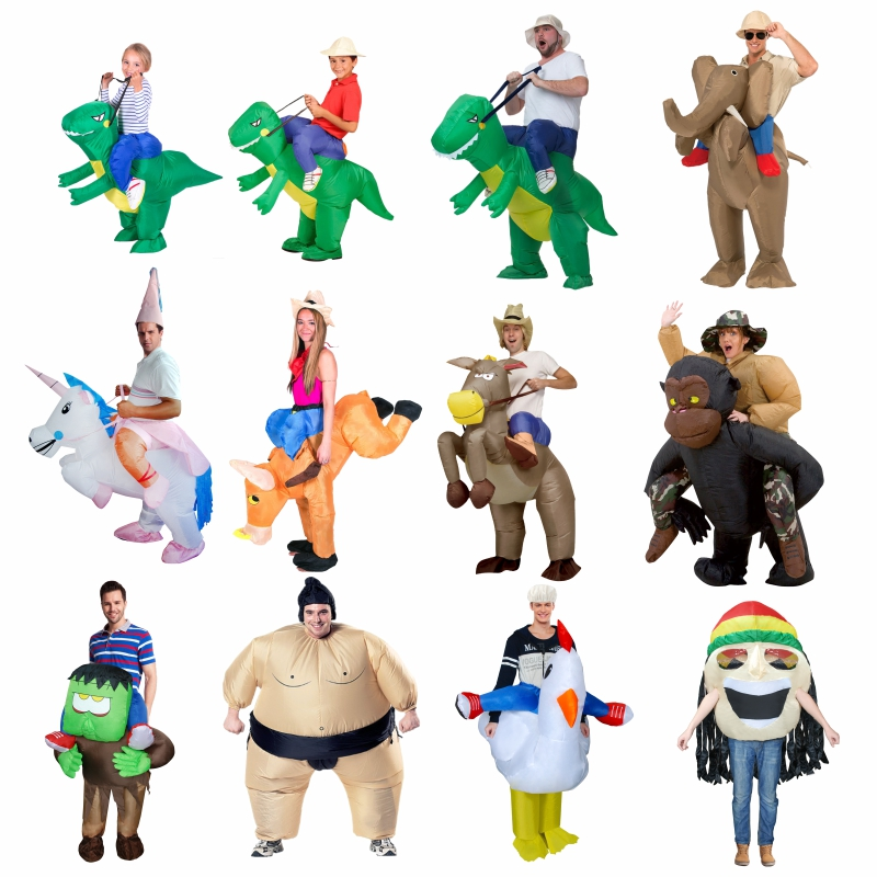 Holiday Carnival Costume Women Dinosaur Cowboy Inflatable Costumes Funny Party Dress Animal Cosply Halloween Costume for Kids christmas costumes children animal cosplay rompers inflatable funny chick fancy kids baby 7 24m halloween costume disfraces