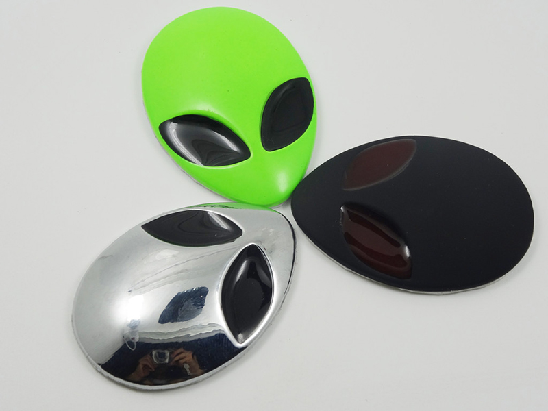 6 color Metal 3D Alienware Alien Head Auto Logo Sticker Vinyl Badge Car UFO Decals Graphic High