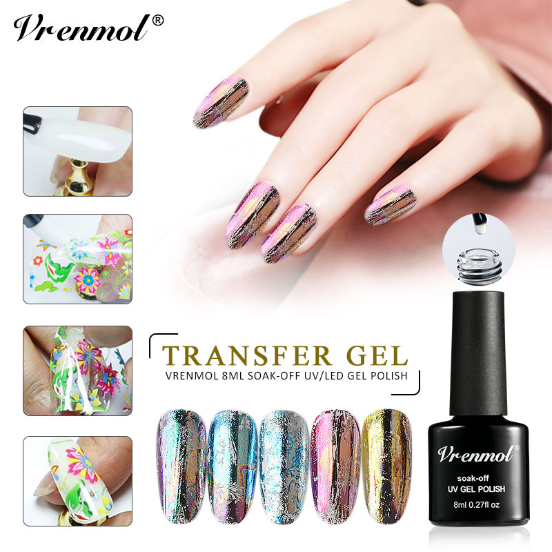 Vrenmol Nail Gel 8ml Star Starry Sky Nail Foils Polish Nail Art Glue Clear Adhesive Star Glue for Nail Foil Transfer Sticker in Nail Glue from Beauty Health