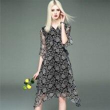 [Ode To Joy]100%Silk ruffle print summer dress women High waist strap silk beach dress Boho party sexy dresses good quality