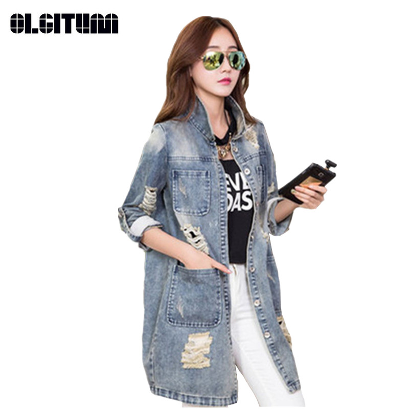 2020 Fashion Women Autumn Spring Outerwear Coat Casual Loose Denim Street Jacket Hole Jean Vintage Coats Button Jackets JK191
