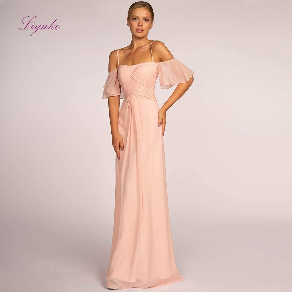 Liyuke A line   Bridesmaid     Dress   Chiffon Long   Dress   Spaghetti Straps Flare Sleeves Customized Free Shipping