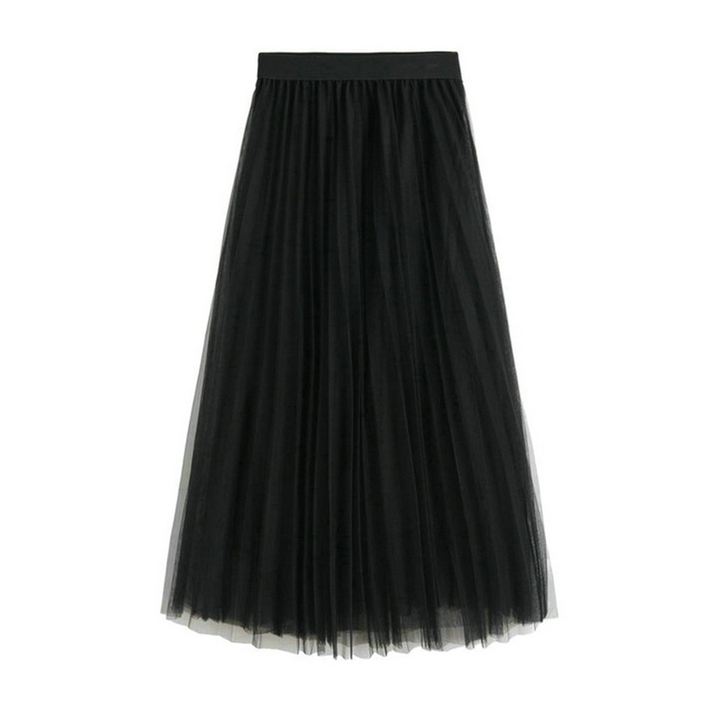 Summer Hot New long skirt women's mesh skirt pleated skirt skirt Maxi Vintage Lolita petticoat DailyFalda skirt jupe femme 40*