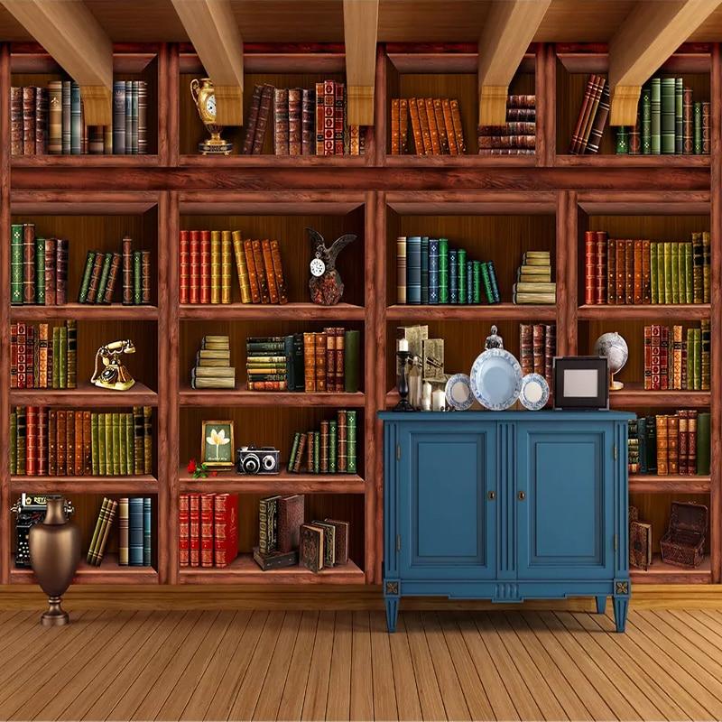 Custom 3D Photo Wallpaper Papel De Parede Mural Retro Bookcase Bookshelf 3D Living Room Background Wall Painting Home Decoration