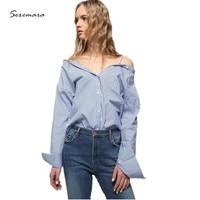 100% cotton blouse tops off the shoulder blusas women 2017 blue striped shirt blouse high quality