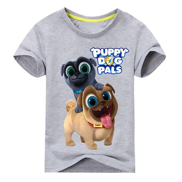 De dibujos animados de verano de perro cachorro amigos imprimir Tee Tops para niño Niñas Ropa de los niños blanco 3D gracioso camiseta niños T camisa ropa DX043