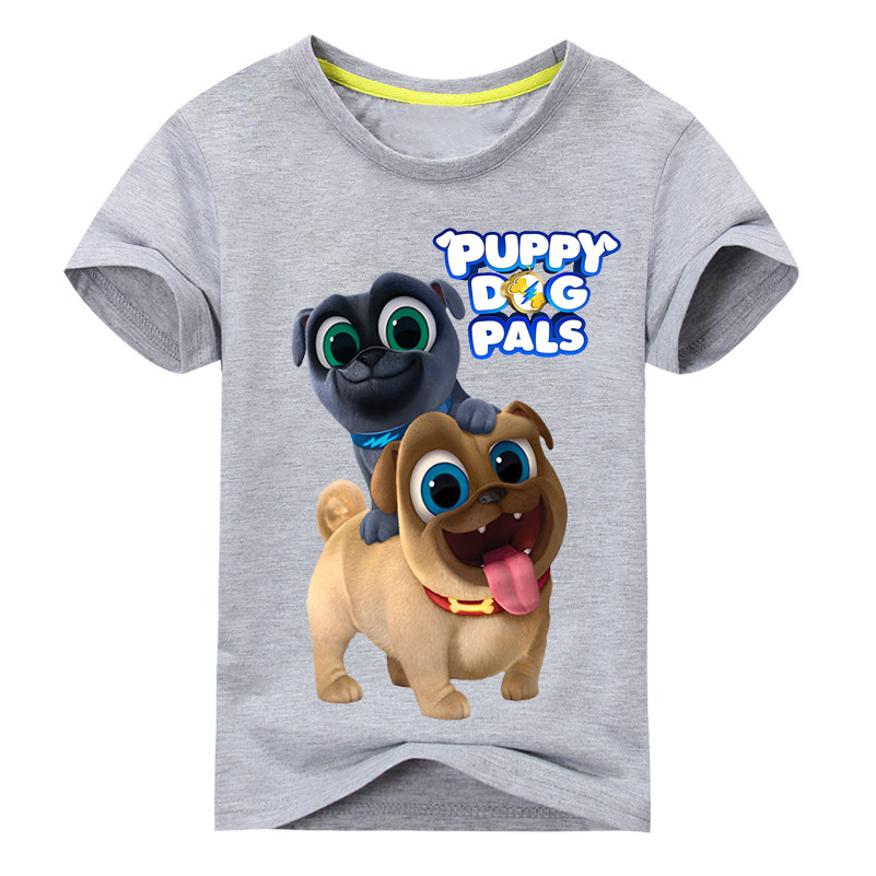 Summer Cartoon Puppy Dog Pals Print Tee Tops For Boy Girls Clothing Children White 3D Funny T-shirt Kids T Shirt Clothes DX043 peach print tee