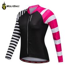 WOLFBIKE Female Long-sleeved Cycling Jersey MTB Downhill Bike Ropa Maillot Ciclismo Bicycle Sportswear Tight Sports Shirt Women