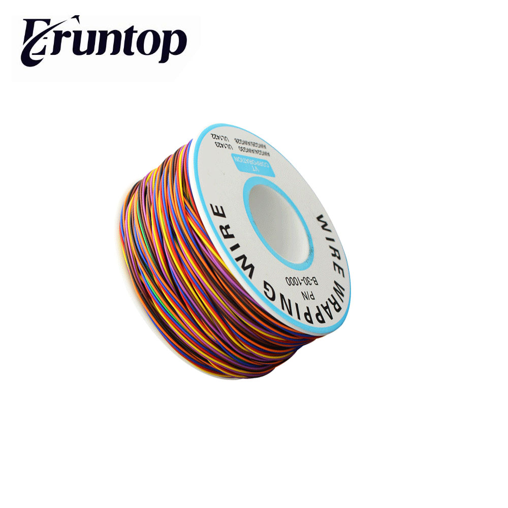 30AWG 0.25mm Tin Plated Copper Wire Wrapping Insulation Test Cable 8-Colored Wrap Reel Tin Plated Copper Plastic