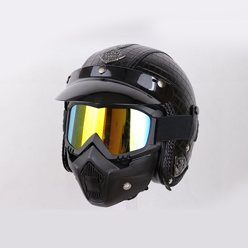 High Quality Motorcycle Helmet Retro Leather Half Helmet Open Face Helmet ABS Casque Motocross With Mating Googles mating mind