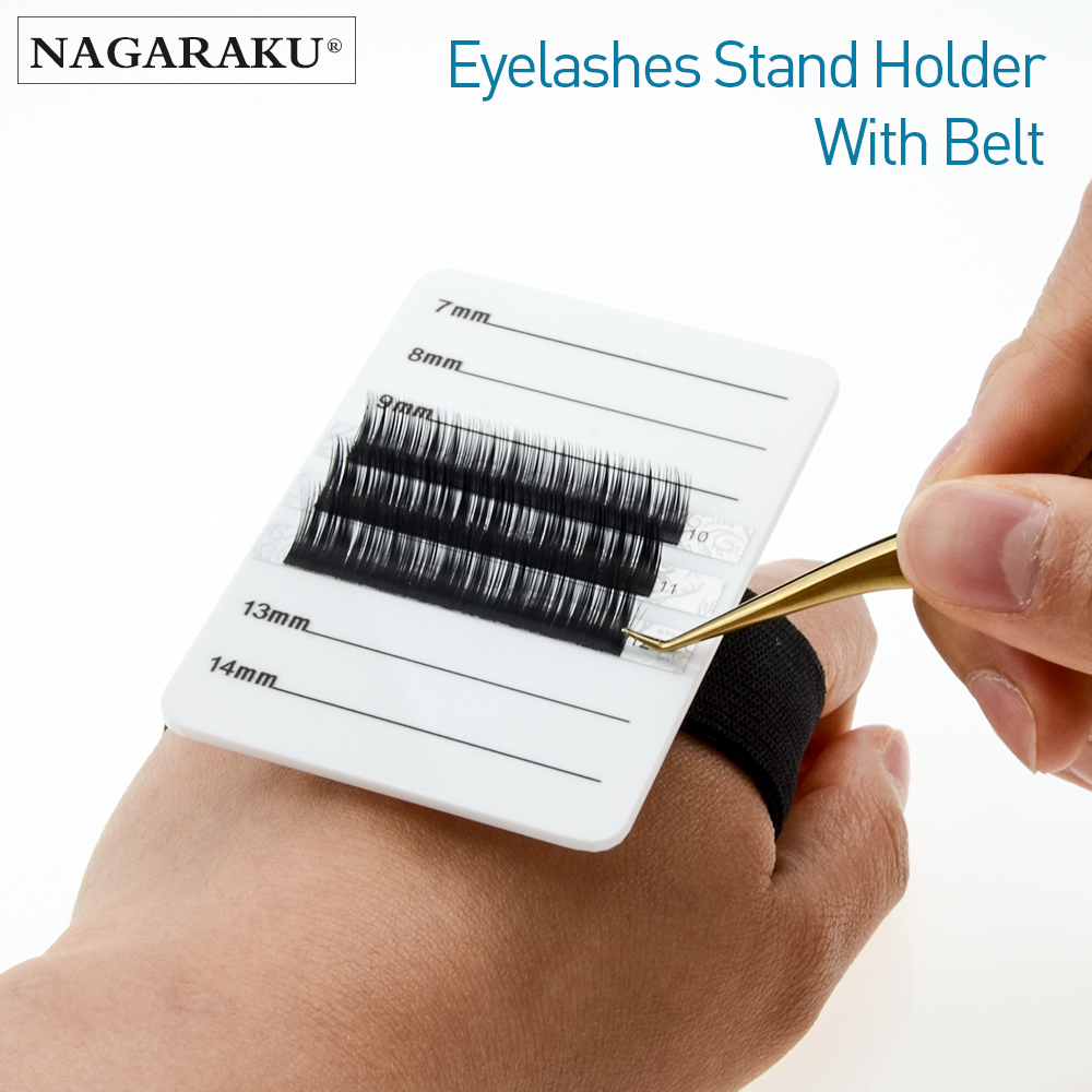 NAGARAKU Eyelashes Extension Cycle Use Eyelash Palette & Holder  Rubber Band 8 lines 7mm to 14mm Marked on Right Makeup Tools