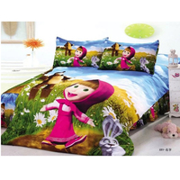 Cartoon Masha and the Bear Printed Duvet Cover Set Bed Linen for Children Girls Gift Duvet Cover Flat Sheet Pillcases