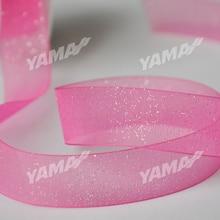 YAMA Spray-Glitter Print Органза Лента 200 ярдов / рулон Золото Серебро 9мм 13мм 16мм 19мм 22мм 3/8