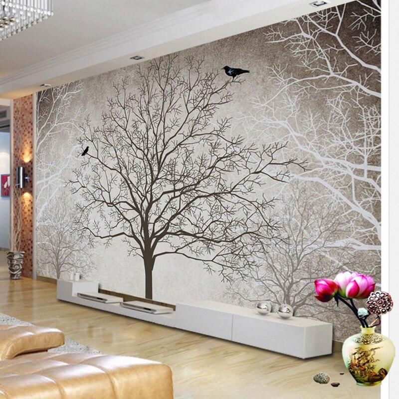 Ретро Аннотация ветви деревьев птица большой фрески заказ 3d фото обои Гостиная диван ТВ Задний план росписи декора стены бумаги