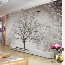 Retro Abstract Tree Branches Bird Large Murals Custom 3D Photo Wallpaper Living Room Sofa TV Background Decor Mural Wall paper цена 2017