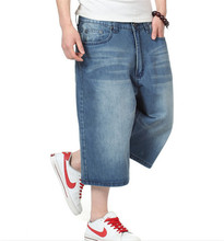 Hip Hop Mens Baggy Pants Denim Jeans Shorts for Mens 2015 Summer Style Skateboard Shorts Plus Size 30-46