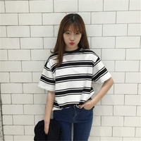 2017 Summer Clothes For Women Harajuku BF Black And White Striped T Shirts Loose Plus Size