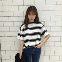 2017 Summer Clothes for Women Harajuku BF Black and White Striped T-shirts Loose Short Sleeve Female T-shirt Tops Girls S-XL