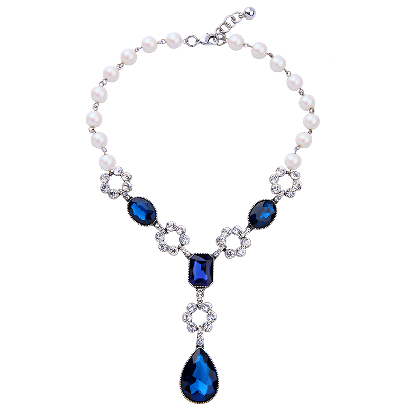 New Design Simulated Pearls Chain Blue Water Drops