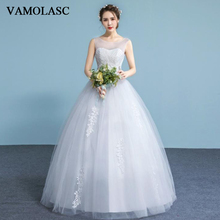 VAMOLASC Illusion Pleat O Neck Lace Appliques Ball Gown Wedding Dresses Crystal Tank Tulle Backless Bridal Gowns