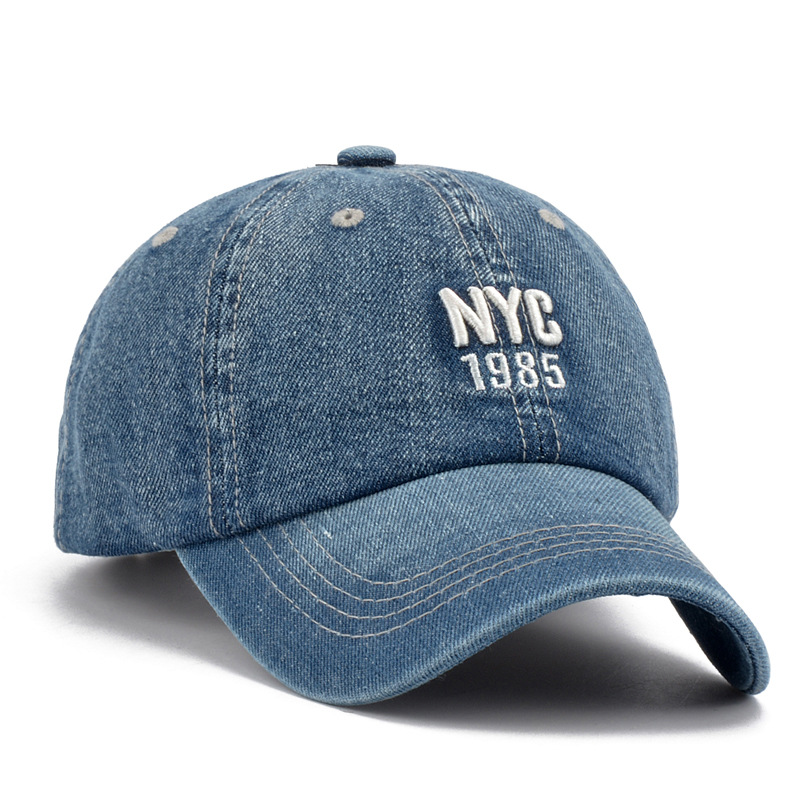 New 2017 Summer Mens Hat   Cap NYC Letter Denim Wash Sports Caps Unisex Baseball  Cap Adjustable Snapback Casual Caps-in Baseball Caps from Apparel ... 31dd6f2667e