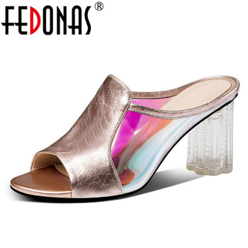 FEDONAS Summer New Fashion Mixed Colors Women Sandals Genuine Leather Peep Toe High Heels Shoes Woman Party Night Club Shoes