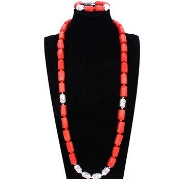 4UJewelry nigeriano Hombre Naturaleza Original cuentas de Coral conjunto de joyas para bodas nigerianas naranja africano collar y pulsera de novia
