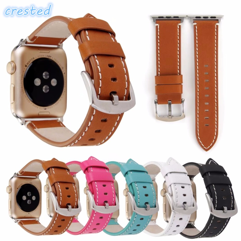 CRESTED Genuine Leather Watch Band with Connector Adapter strap for Apple Watch Series 1 Series 2 Band for Sport Buckle Bracelet kakapi crocodile skin genuine leather watchband with connector for apple watch 38mm series 2 series 1 pink
