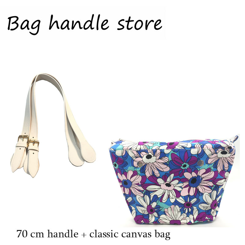 one set classic insert with 65 cm pu leather handles inner pocket linning waterproof insert for obag eva bag women handbag tote new colorful cartoon floral insert lining for o chic ochic canvas waterproof inner pocket for obag women handbag