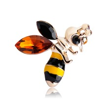 Эмаль маленькие пчелы форма брошь золото-желтый цвет горный хрусталь насекомых броши корсаж хиджаб контактный платье украшение vivid животных joias