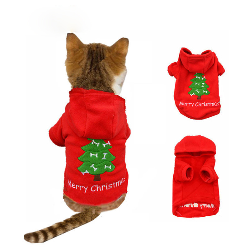 Christmas Cat Clothes Warm Cat Coats Outfits Pet Clothes For Cat Party Halloween Funny Pet Costume Winter Dog Hoodie