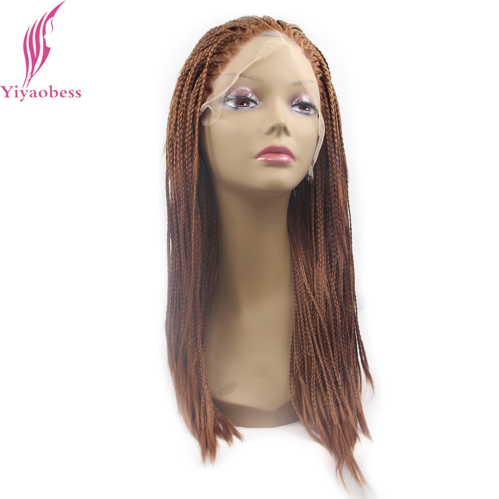 Yiyaobess Micro Braided Lace Front Wigs For Black Women Heat Resistant Synthetic Medium Length Auburn Brown Wig Two Models