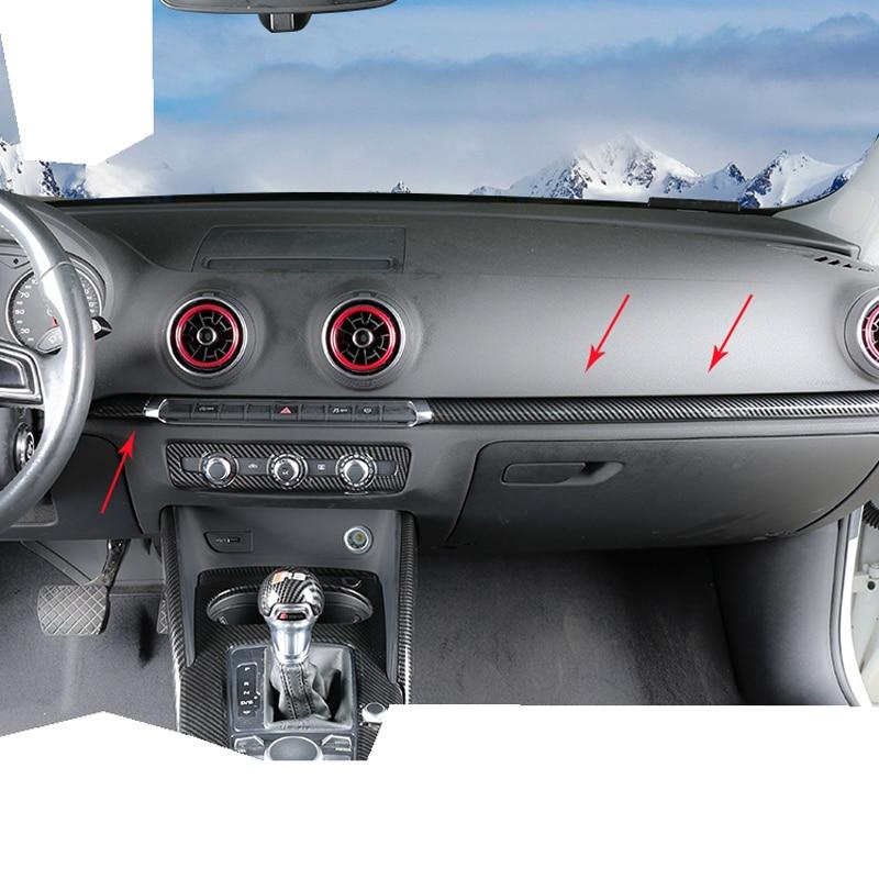 Style de voiture Pour Audi A3 8 V S3 2014-2017 ABS Style Fiber de Carbone Center De Contrôle autocollants de décoration Intérieur Accessoires