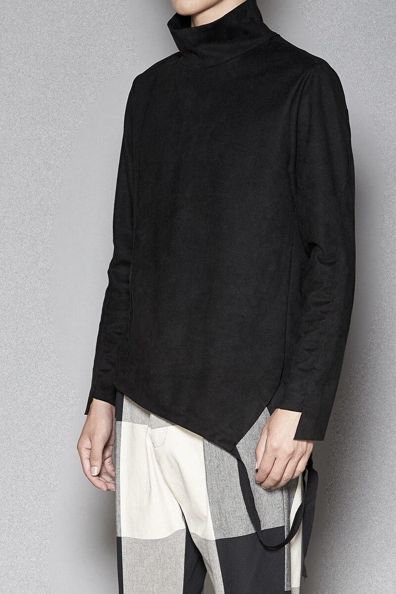 Tailoring Imitation Velvet Leather Long sleeved Slim Shirt High Collar Trend T shirt Stranger Things T Shirt Streetwear Hip Hop - 5