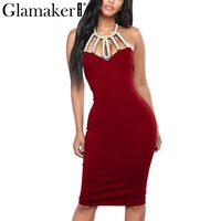 Glamaker Halter Pearl Bodycon Dress Women Backless Hollow Out Sexy Party Dress Female Split Sleeveless Black