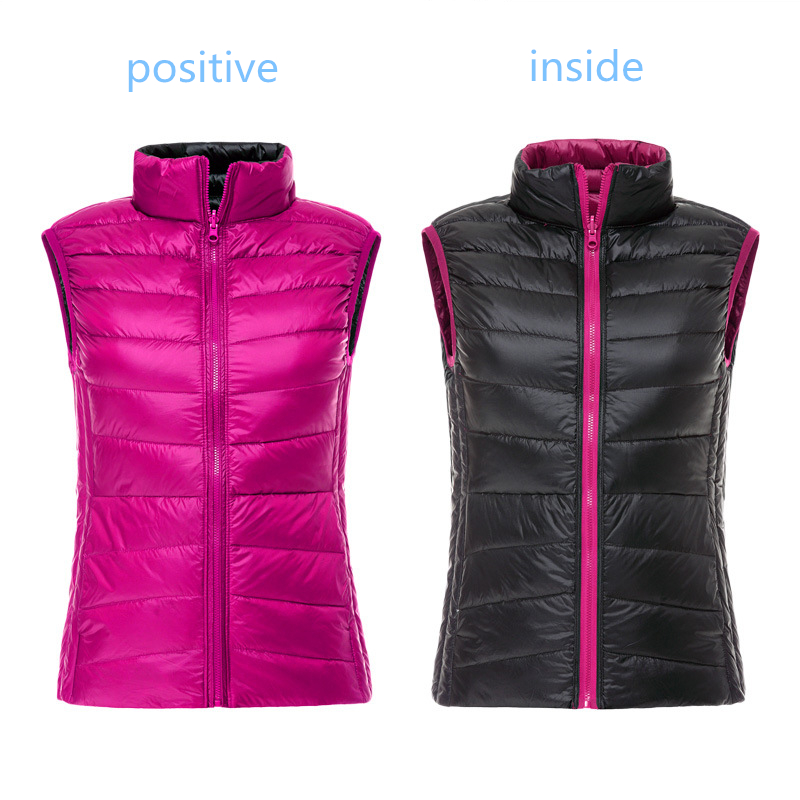 LEFT ROM Winter New Short Paragraph Light   Down   Jackets Women's   Down   Vest Two-sided Wear Warm Waistcoat Females   Down     Coats   S 3XL