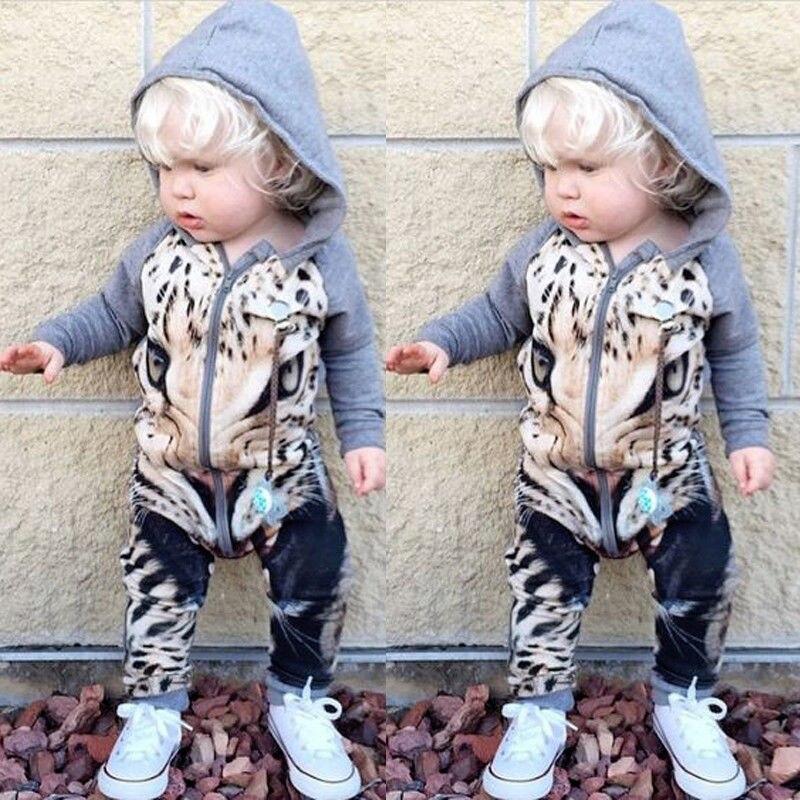 396f01d14 Cute Newborn Romper Infant Kids 3D Tiger Print Rompers Long Sleeve ...