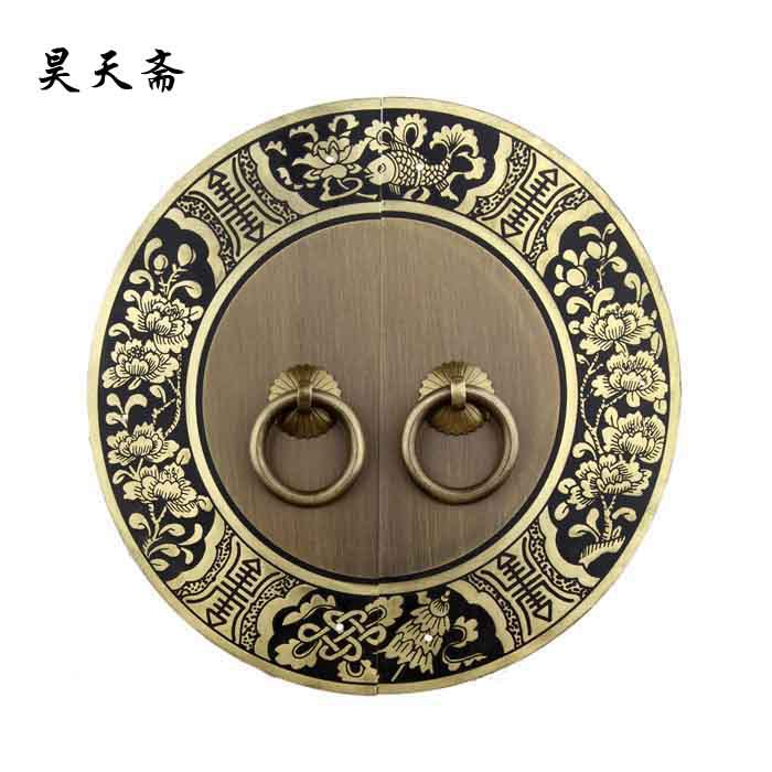 [Haotian vegetarian] round numbers engraved door handle Chinese antique copper handle thicker HTB-249 [haotian vegetarian] round numbers engraved door handle chinese antique copper handle thicker htb 249