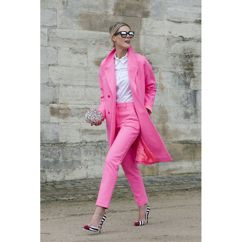 Hot Pink Womens Suits Long Jacket Overcoat Business Suits Female Trouser Ladies Pant Suits B104