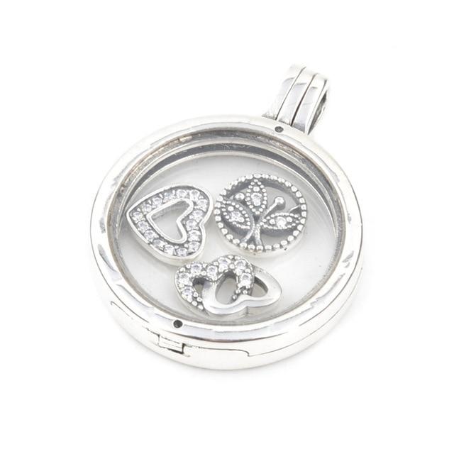 Family Petites Medium Floating Glass Locket Pendants Pandora Necklaces for Women Fashion Silver 925 DIY Jewelry