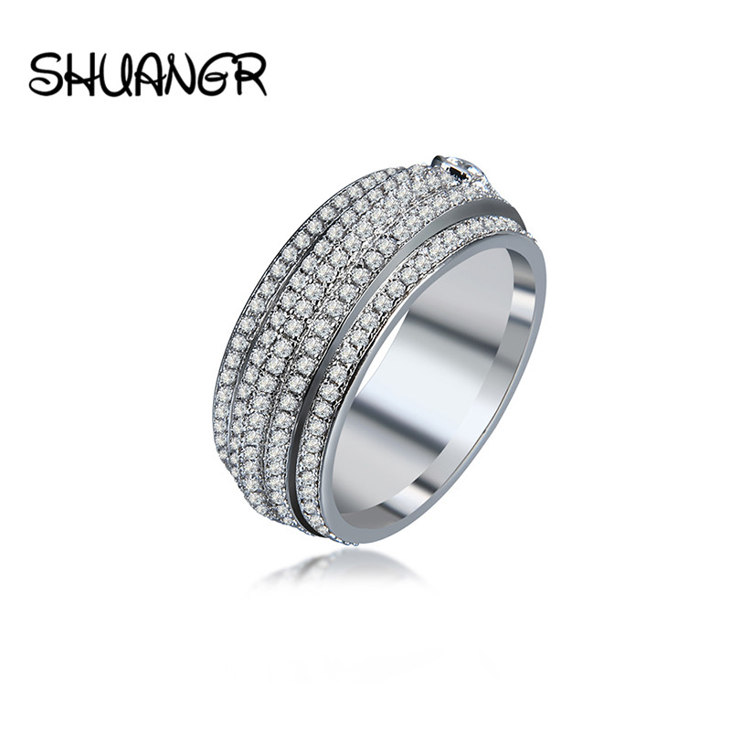 Stainless Steel Enement Ring | 5 Row Lines Silver Clear Crystal Jewelry Fashion Stainless Steel