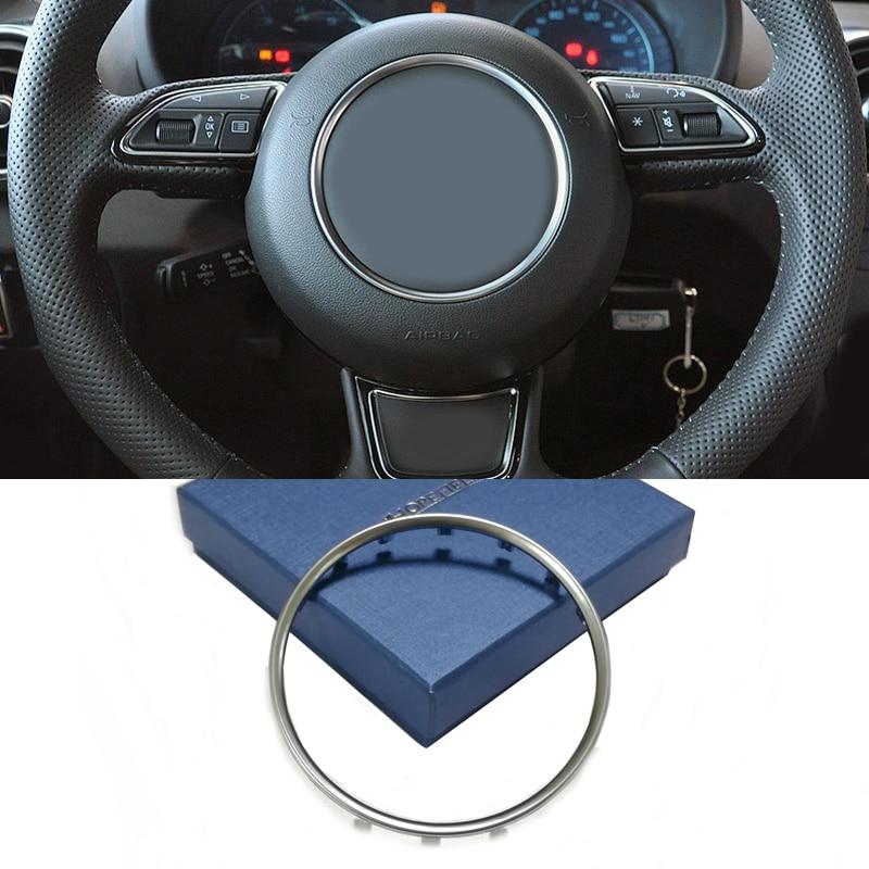 Silver Chrome Steering Wheel Ring Trim Sticker Center Emblem Logo Frame Cover Accessories For Audi A1 A3 A4 A5 A6 B8 B9 C7 Q3 Q5