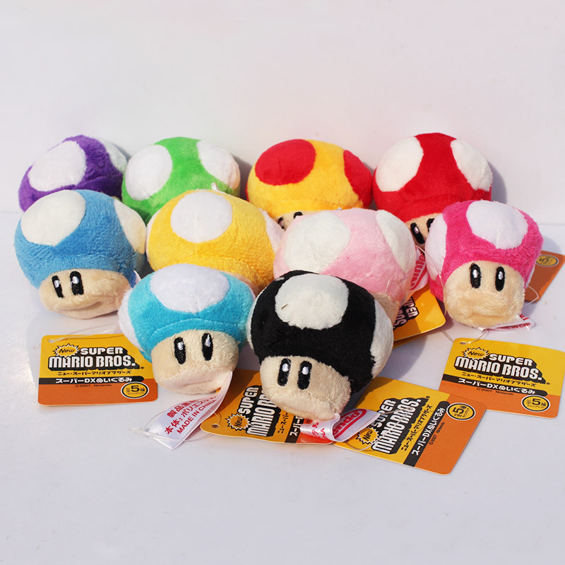 10pcs/lot Super Mario Bros Mushroom People Plush Soft Toy Plush Doll Stuffed Toy Keychains Pendants 7cm