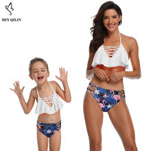New Arrival Parent-child Swimwear Print  Floral Women Child Two Pieces Falbala Halter Female Kid Suit Sexy Push Up Swimsuit