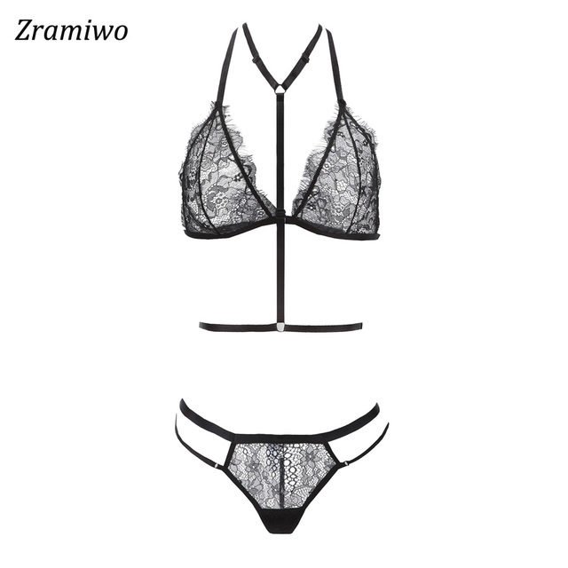 c821ccbe01349 Zramiwo Women Lace Bra Set Harness Bra and Panty Sexy Lingerie Set Sheer  Underwear See through Nighty