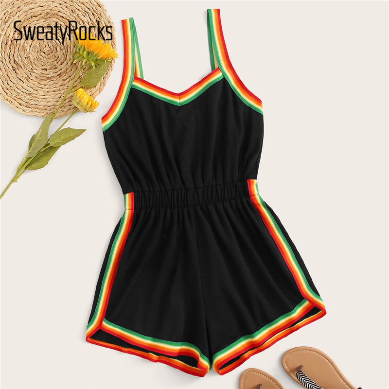 SweatyRocks Rainbow Striped Tape Panel Cami   Romper   Women Casual 2019 Summer Streetwear   Rompers   High Waist Short Jumpsuit
