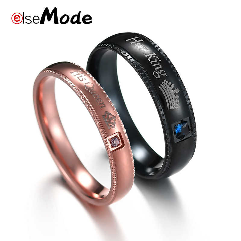ELSEMODE Romantic CZ Stone His Queen Her King Letter Wedding Engagement Rings for Men Women Lover Couples Jewelry